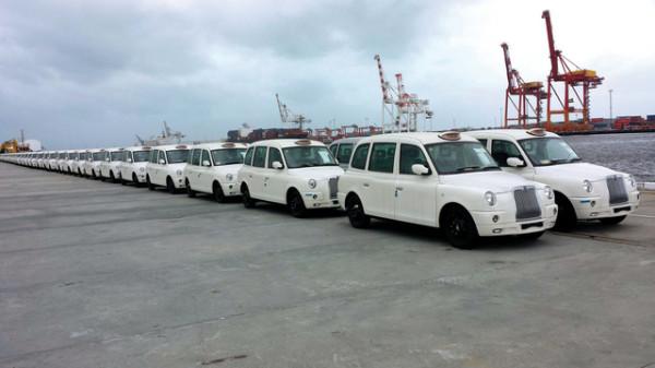 Les taxis de Londres en Blanc.